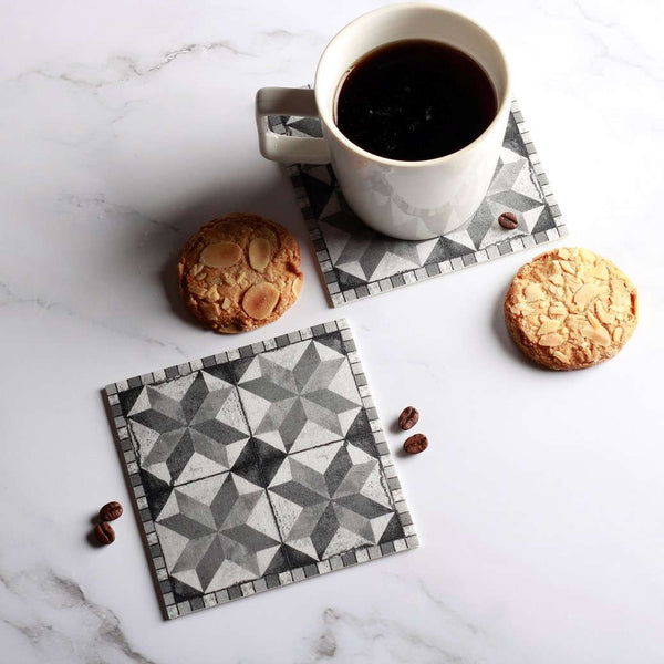 Vinyl Coasters, Set of 4 - Grey Tiles