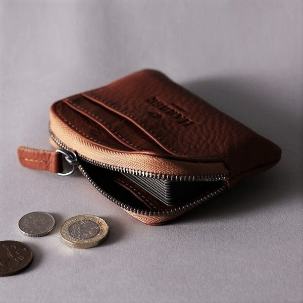 Leather Zip Pouch Wallet - Deep Brown