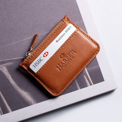 Leather Zip Coin Wallet - Tan
