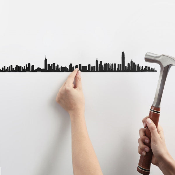 Metal Skyline Wall Decor - Hong Kong