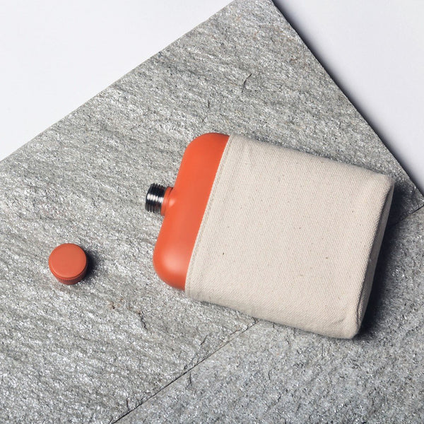 Orange Flask with Canvas Carrier