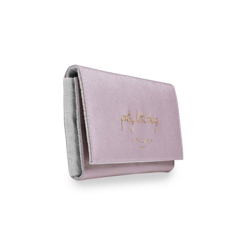 Travel Jewellery Roll - Metallic Pink