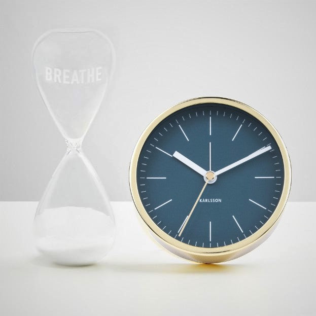 Minimal Blue Gold Alarm Clock