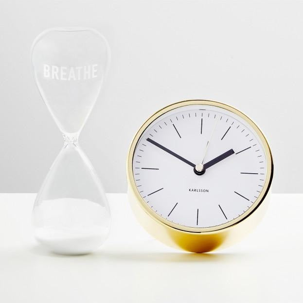 Minimal White Gold Alarm Clock