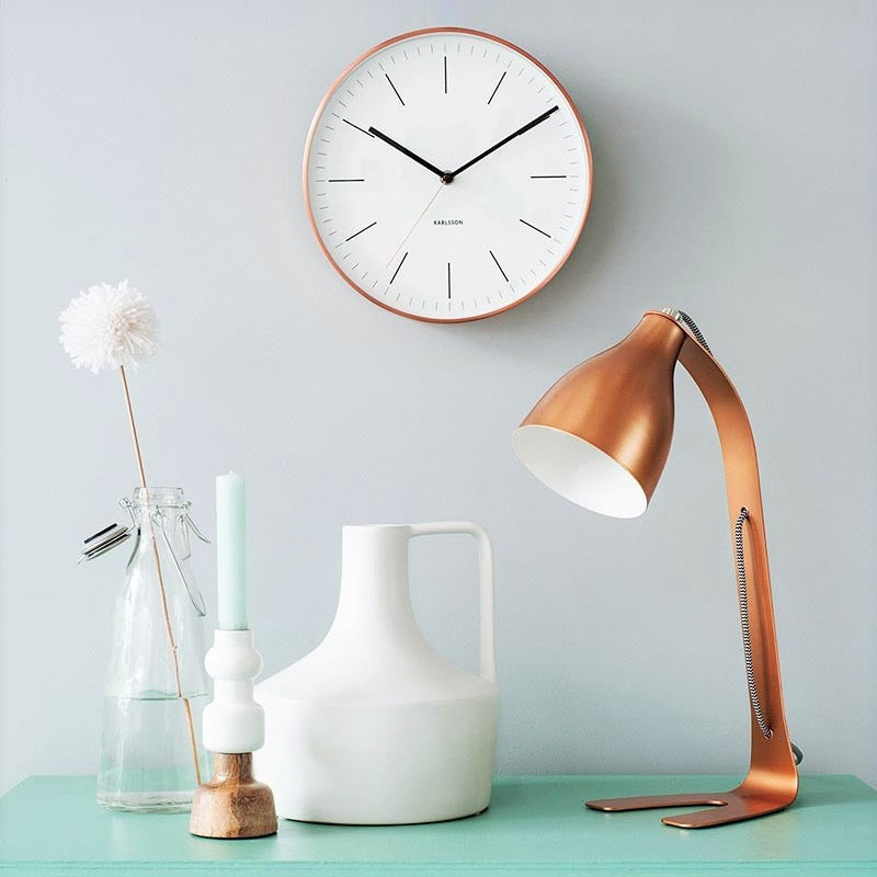 Minimal White Copper Wall Clock