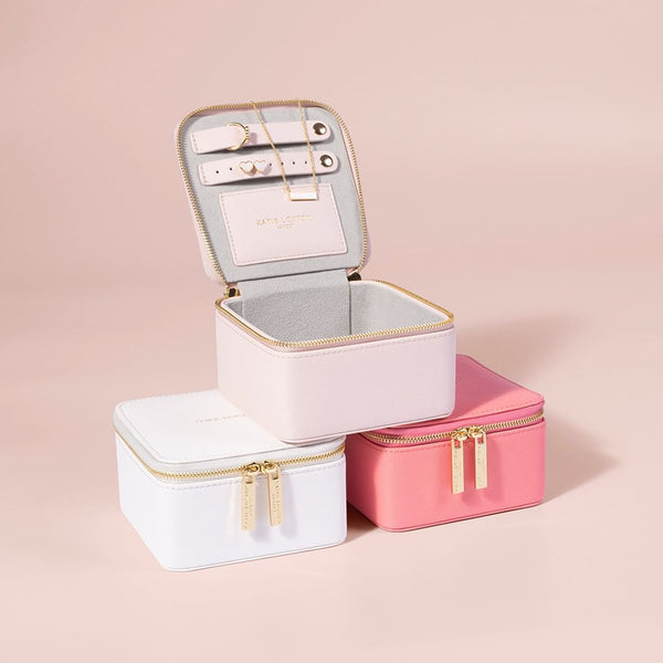 Travel Jewellery Box, Square - Pink