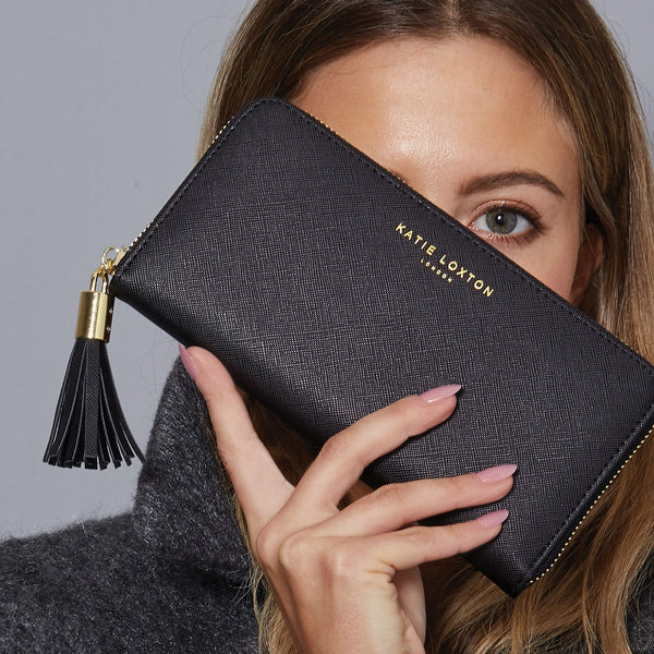 Tassel Zip Wallet - Black