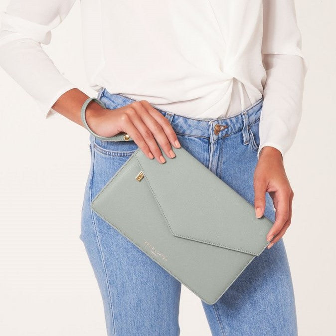 Esme Envelope Clutch Bag - Grey