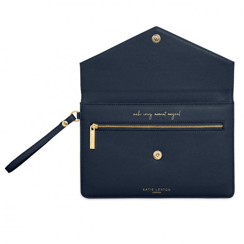 Esme Envelope Clutch Bag - Navy