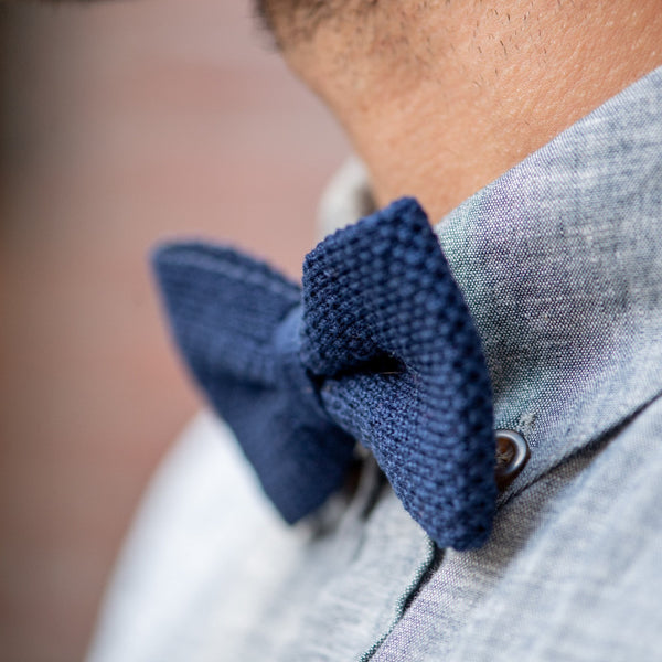 Knitted Bow Tie - Navy Blue