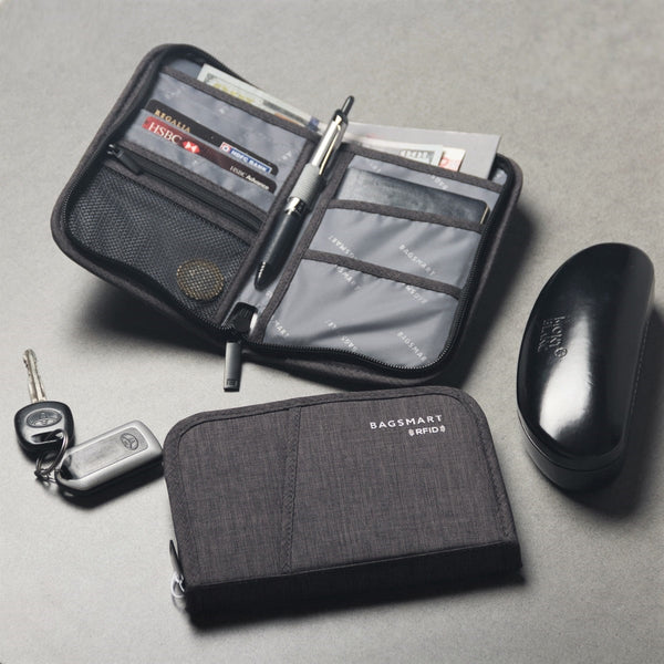 Travel Passport Holder RFID - Heather Black