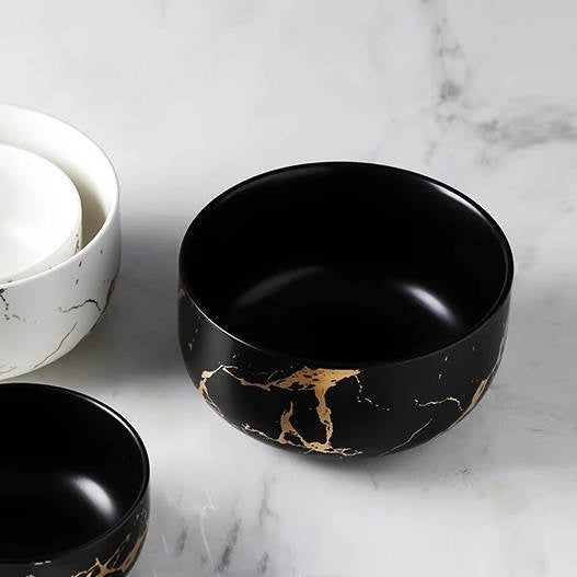 Serving Bowl - Black Marble
