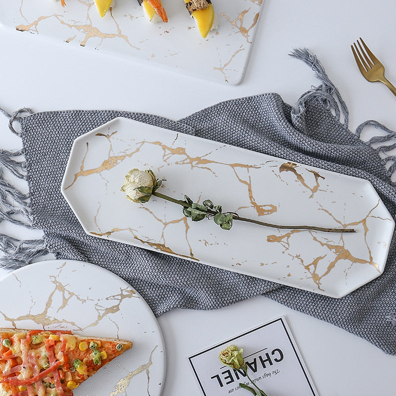 Long Ceramic Platter - White Marble