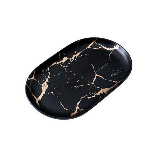 Oval Ceramic Plate - Black Marble