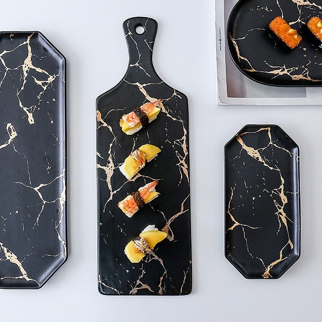 Long Ceramic Serving Paddle - Black Marble