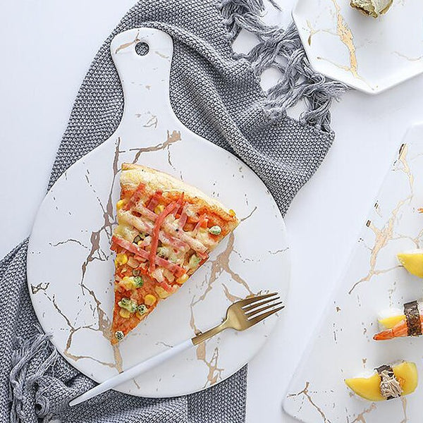 Round Ceramic Pizza Paddle - White Marble