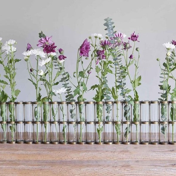 Test Tube Vase, 20 Bud Holder - Antique Brass