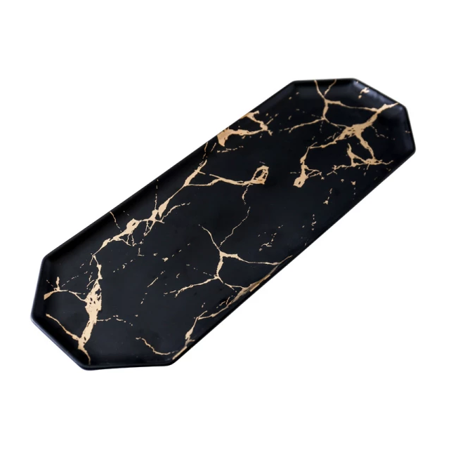 Long Ceramic Platter - Black Marble