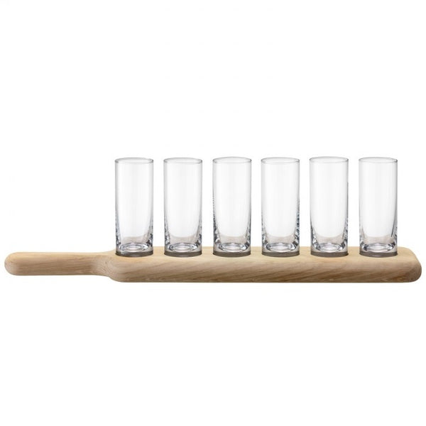 Oak Paddle & Shot Glasses Set