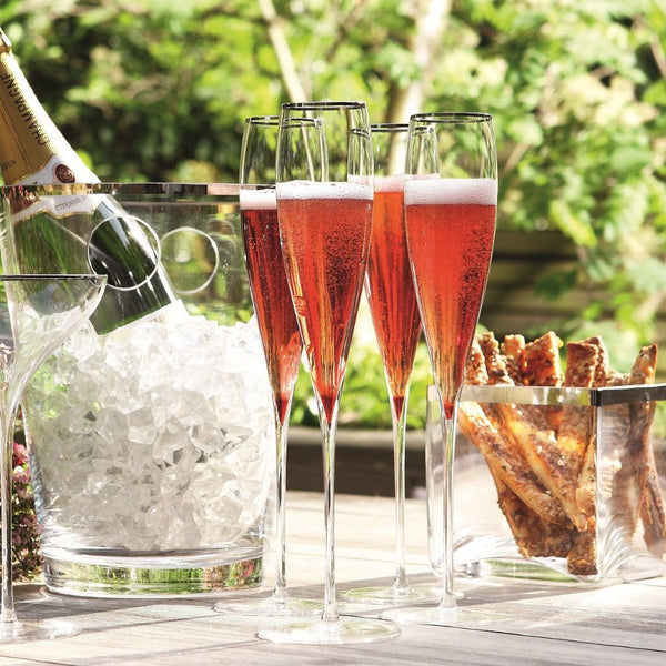 Savoy Platinum Champagne Flutes, Set of 2