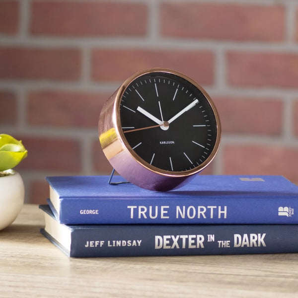 Minimal Black Copper Alarm Clock