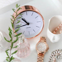 Minimal White Copper Alarm Clock