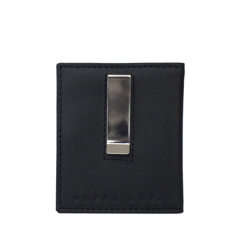 Leather Money Clip Wallet - Black