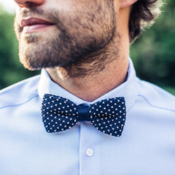 Knitted Bow Tie - Navy & White