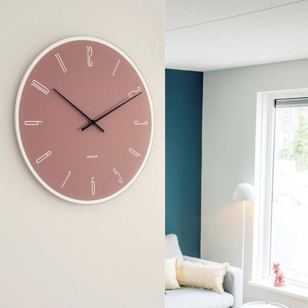Numbers Glass Clock - Pink