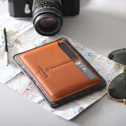Leather Passport Holder - Tan with Black Felt