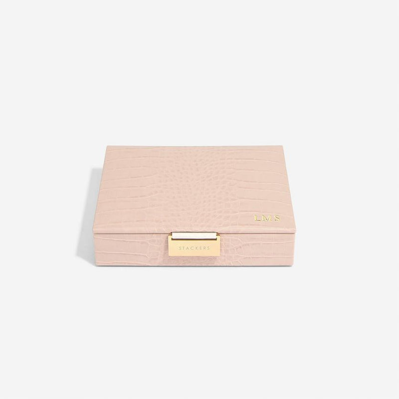 Jewellery Box with Lid Small - Pink Croc