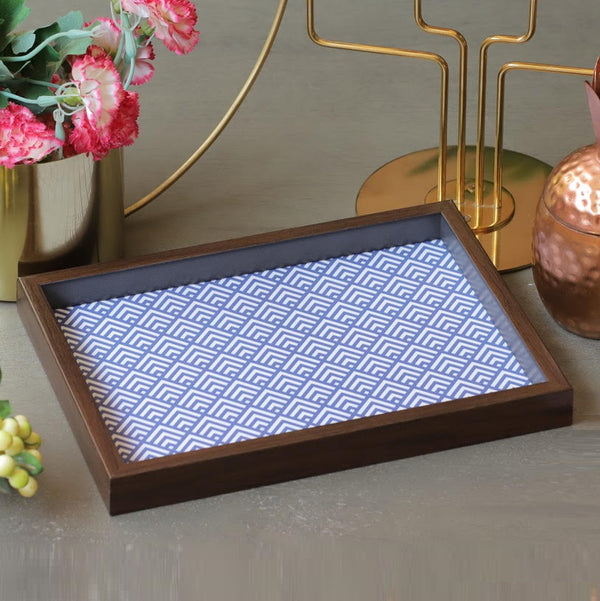 Patterned Desk Tray - Blue Thread