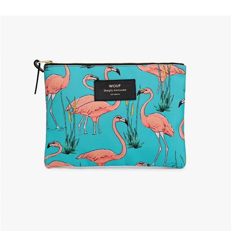 Pink Flamingo Large Pouch