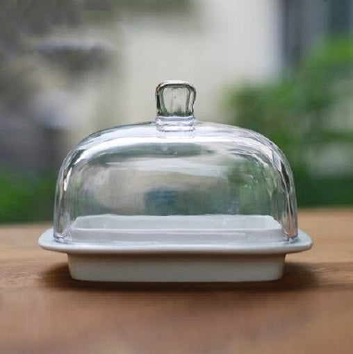 Essential Porcelain & Glass Butter Dish