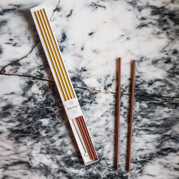 Porter Metallic Tall Straws - Copper