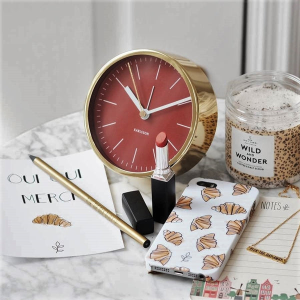 Minimal Red Gold Alarm Clock