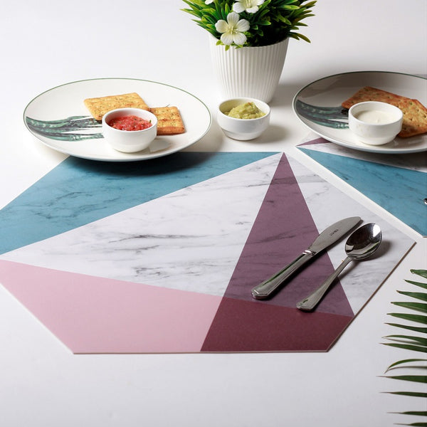 Prism Hexagonal Placemats, Set of 2 - Pink Blue