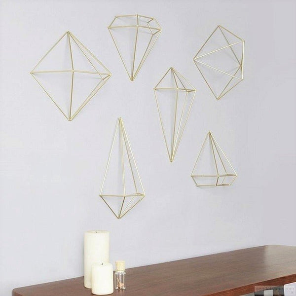 Prisma Wall Decor, Set of 6 - Brass