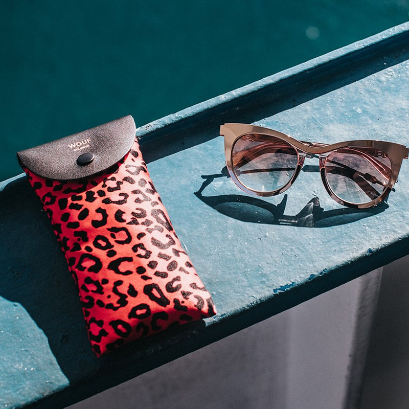 Red Leopard Sunglasses Case
