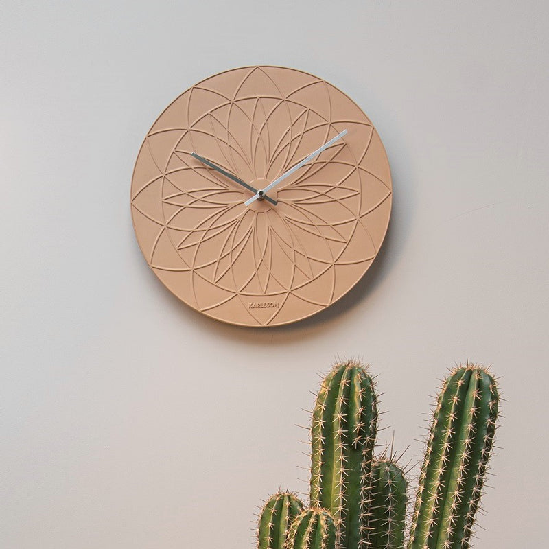 Fairytale Patterned Wall Clock - Sand Brown