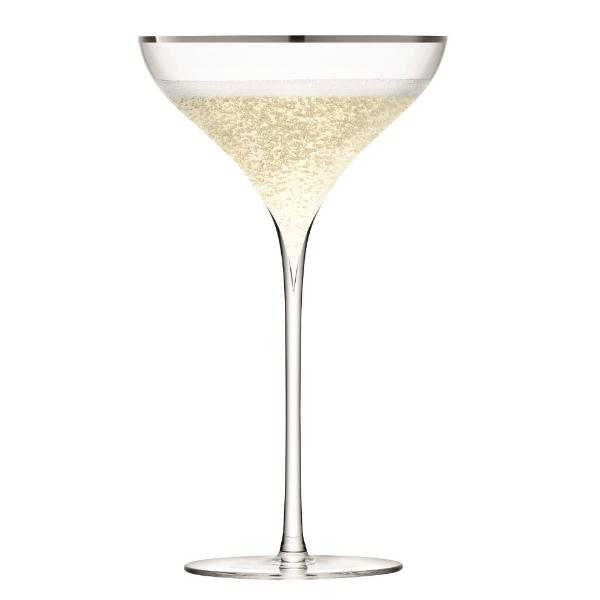 Savoy Platinum Champagne Saucers, Set of 2
