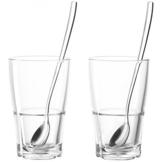 Senso Tall Glasses with Spoons, Set of 2