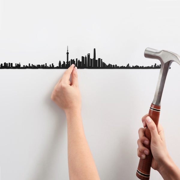 Metal Skyline Wall Decor - Shanghai