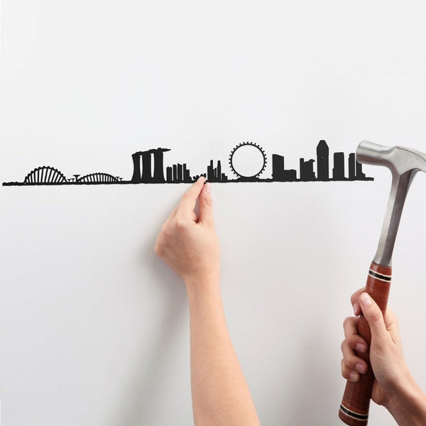 Metal Skyline Wall Decor - Singapore