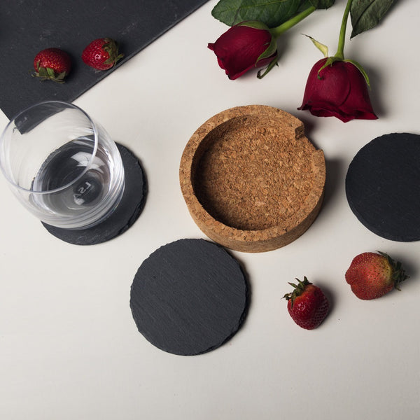 Slate Round Coasters with Cork Holder