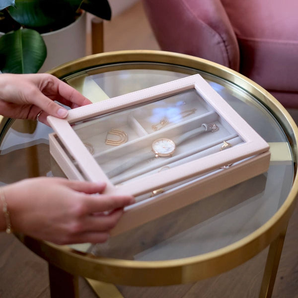 Rings & Accessories Box with Glass Lid - Blush Pink