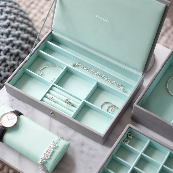 Jewellery Box with Lid Medium - Grey Mint