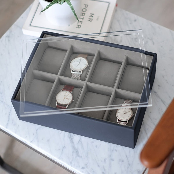 8-pc Watch Box with Acrylic Lid - Navy Blue