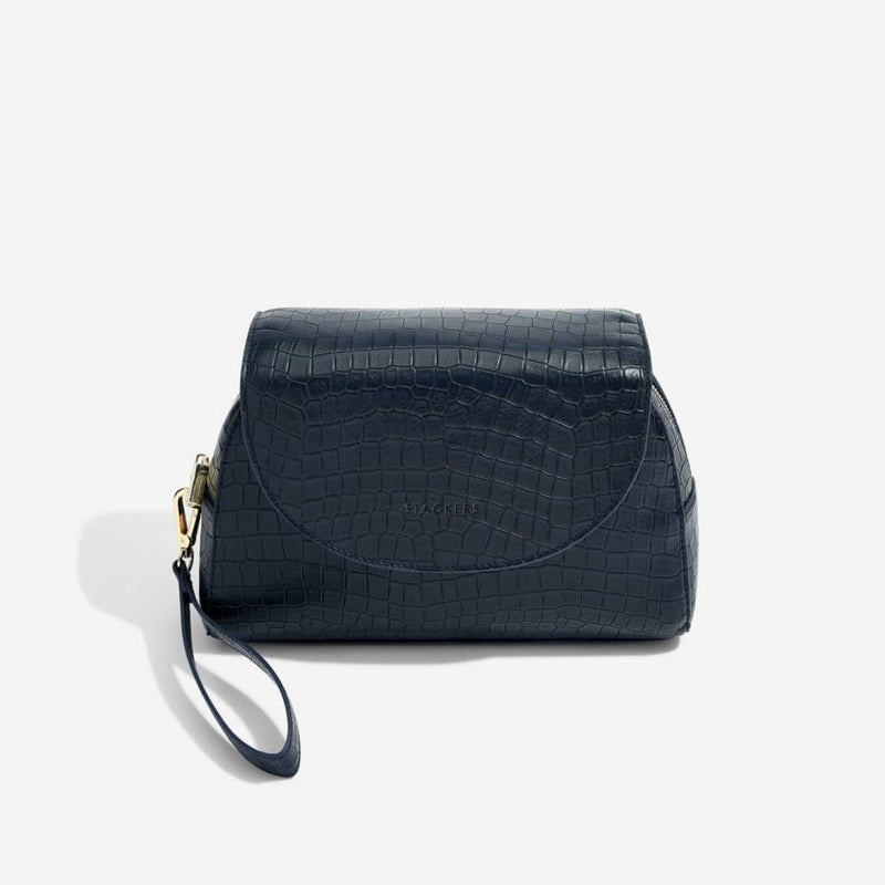 Wrap Around Make-up Bag - Navy Croc