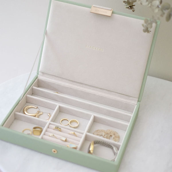 Jewellery Box with Lid Medium - Sage Green